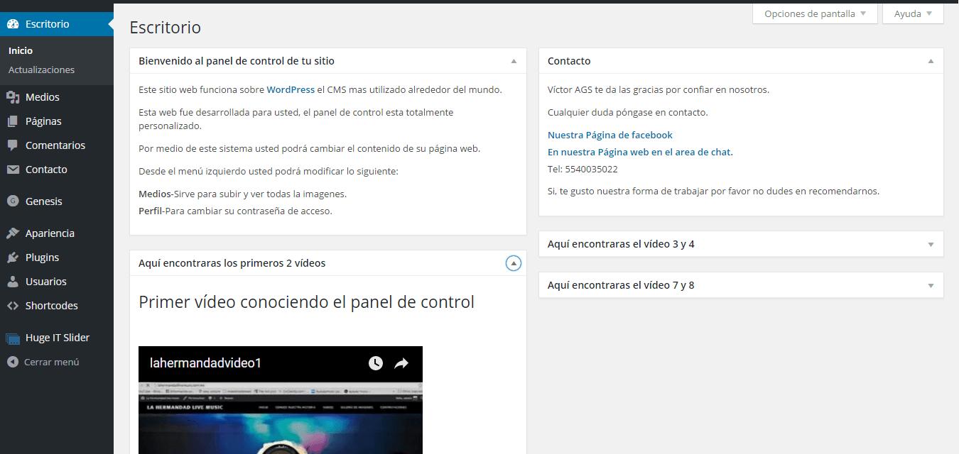 como crear una pagina web - panel de control