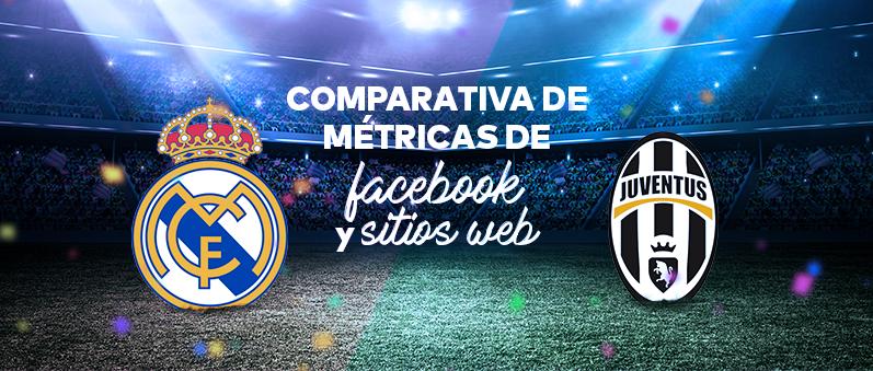 Real Madrid vs Juventus Infografia comparativa de metricas de facebook y sitios web