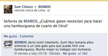 respuesta divertida del community manager de Bembos